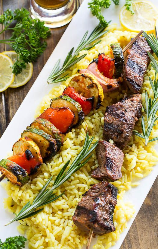 Grilled Beef Kabobs with Rosemary and Lemon Marinade
