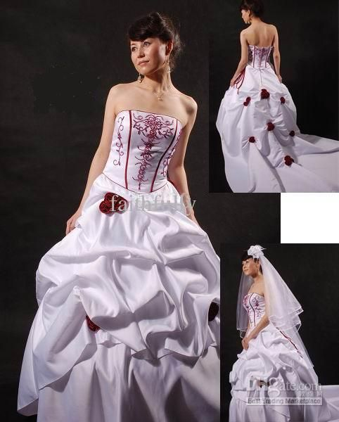 Wholesale wedding dress buy red rose embroidery white wedding dress