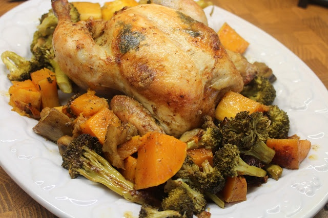 Lemon Herb Roasted Chicken and Veggies...low carb...omit the butternut ...