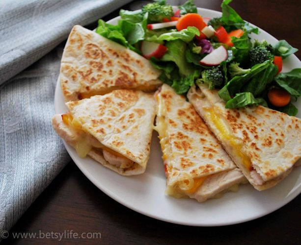 Chicken, Peach and Pepperjack Quesadillas. TO DIE FOR!!!