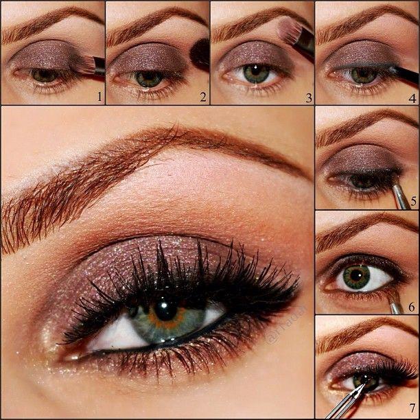 Light plum-ish eyeshadow with dramatic lashes.