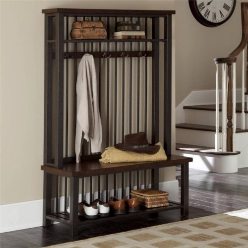 Entryway Hall Tree With Bench Coat Hooks Hat Rack Shelf Chestnut Wood