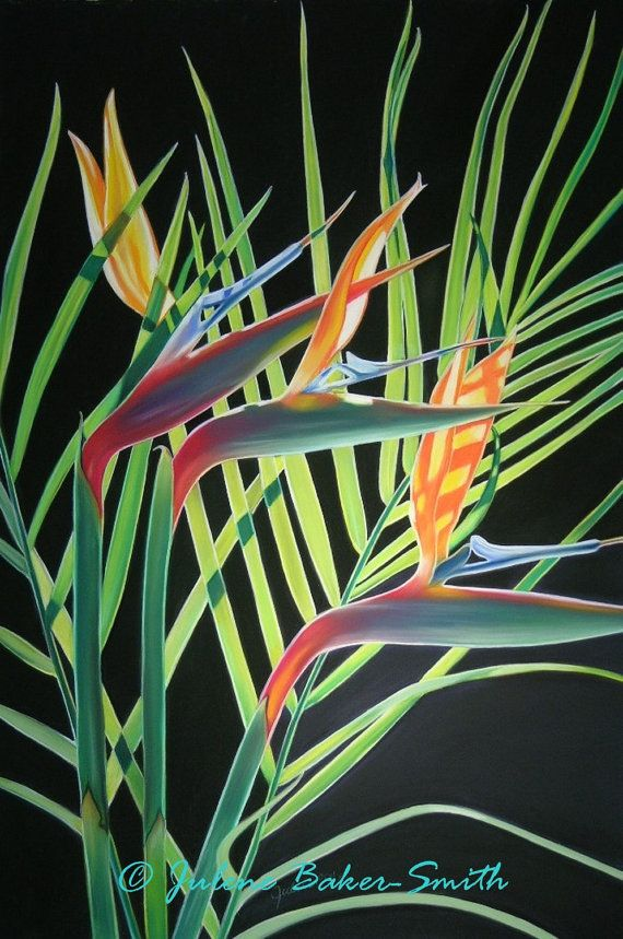 Bird of paradise plant painting