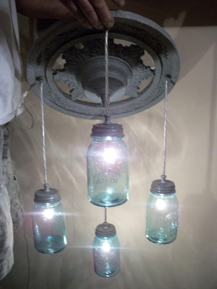 mason jar light blue ball plug in swag style perfect for the porch or. Black Bedroom Furniture Sets. Home Design Ideas