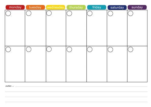 printable 2 week calendar - Template