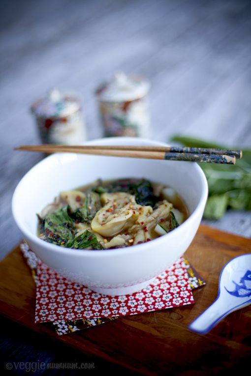 Enoki Mushroom Wonton Soup w/ Grilled Baby Bok Choy