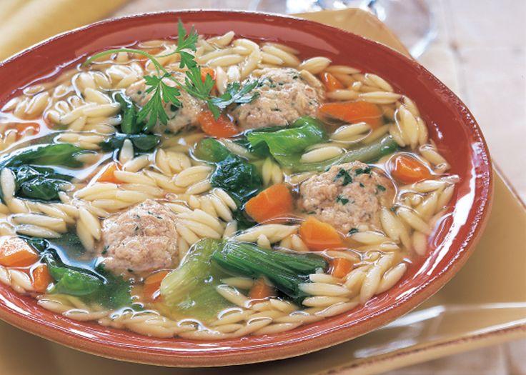 Escarole and Orzo Soup with Turkey Parmesan Meatballs....I use Swiss ...