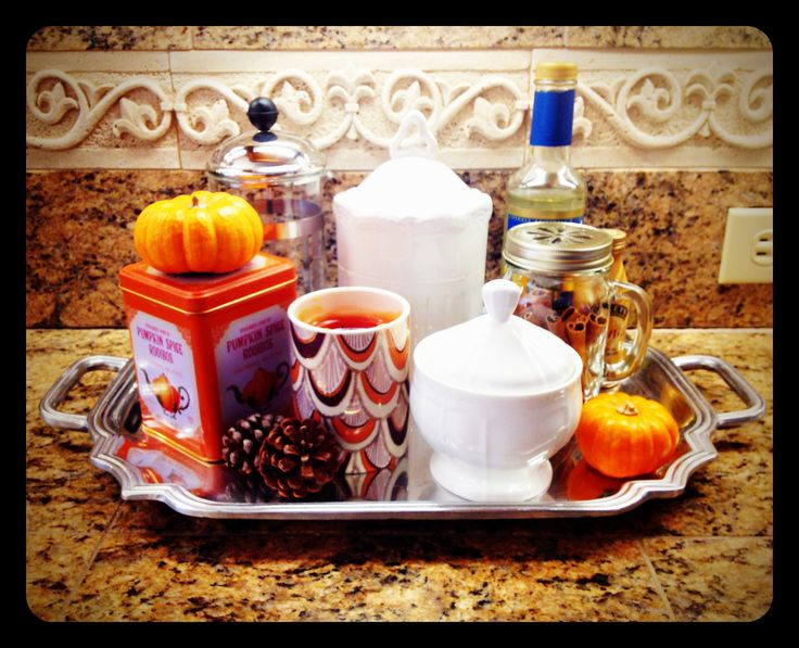 tray/bar, including hot cocoa and apple cider packets, pumpkin spice ...