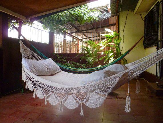 Stunning white macramé hammock