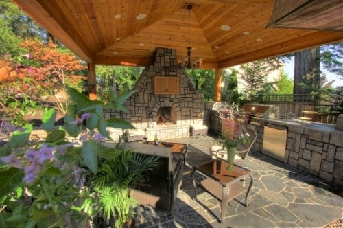 Outdoor kitchen area outdoor living pinterest for Outdoor fireplace and kitchen ideas