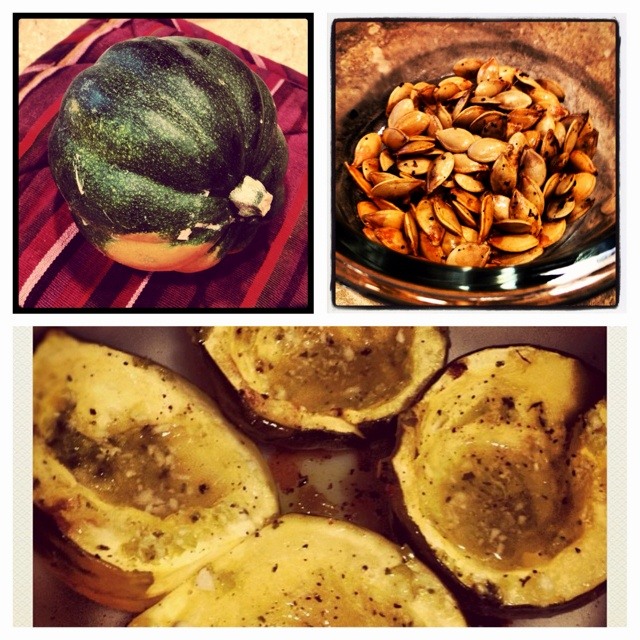 acorn squash, and the seeds too. Cut two in half, scoop out seeds ...