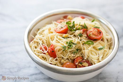 Angel Hair Pasta with Clams, Cherry Tomatoes, and Basil Recipe on ...