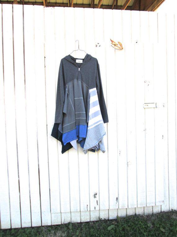 med - large - funky boho hoodie dress / eco tunic / dress / upcycled