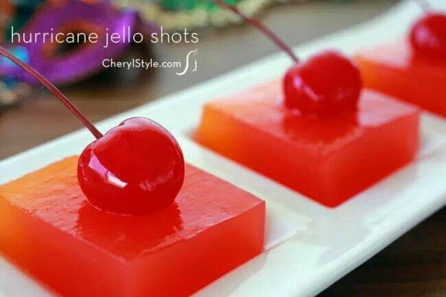 Hurricane jello shots for Mardi Gras | Mixed drinks | Pinterest