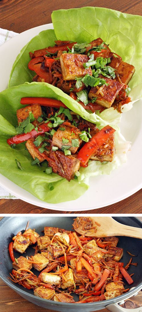 Spicy Tofu Lettuce Wrap | :::: Vegan-n-Vegetarian :::: | Pinterest