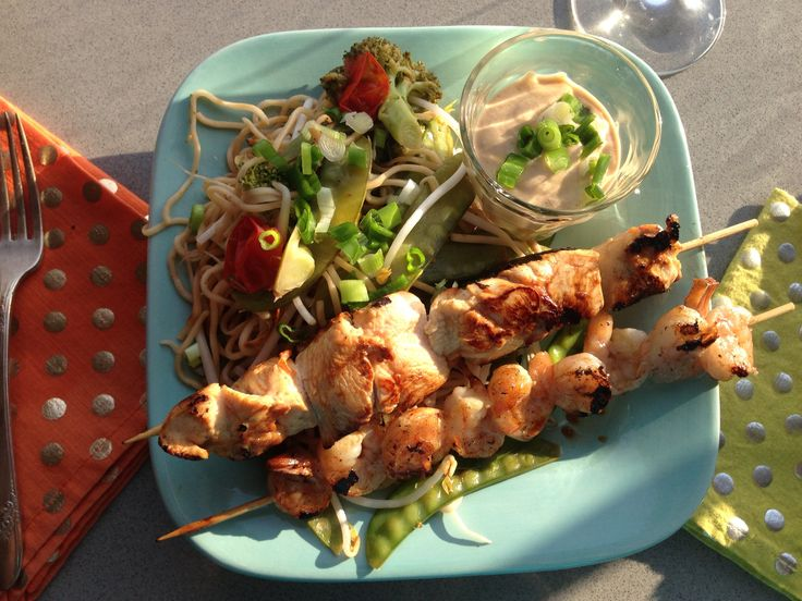 Chicken Satay with Peanut-Ginger Sauce and Broccoli and Snap Pea Ramen ...