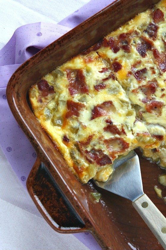 GREEN CHILE, BACON AND CHEESE EGG BAKE   Yummy Recipes   Pinterest