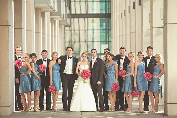 blue dresses, pink flowers