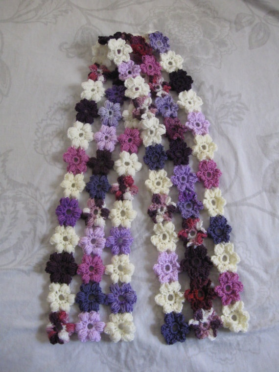 Crochet Flower Puff Pattern : Puff Flower Scarf PDF Crochet Pattern DIY Pinterest