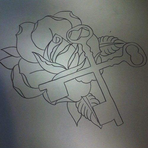 Rose and Double-Crossed Keys Hundredth Tattoo Outline ...