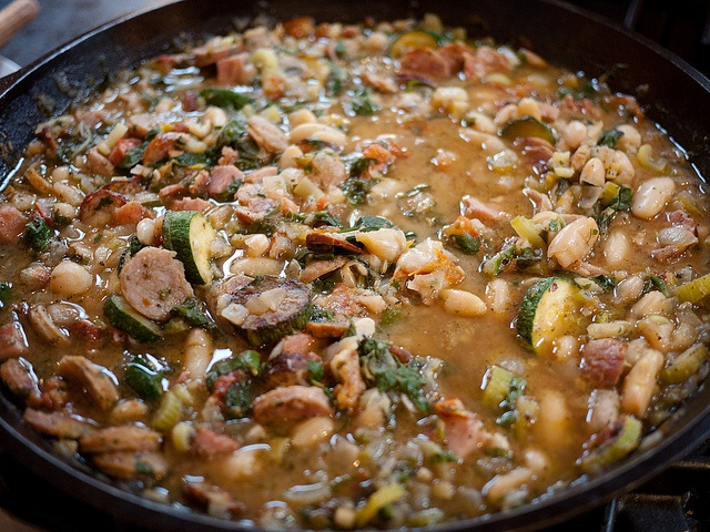 White bean, sausage and chard stew by anjuli_ayer, via Flickr