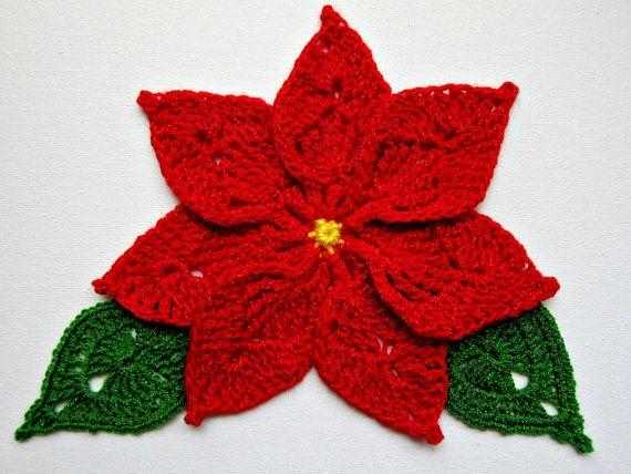 Crochet Red POINSETTIA | Blüten, Blätter, Ranken | Pinterest