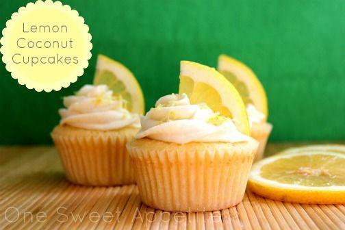 lemon coconut cupcakes   Recipes Worth Saving   Pinterest