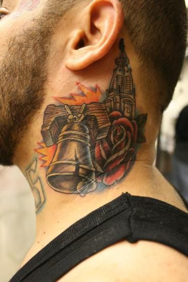 Philly Liberty Bell And Rose Neck Tattoo Philadelphia Loyalty