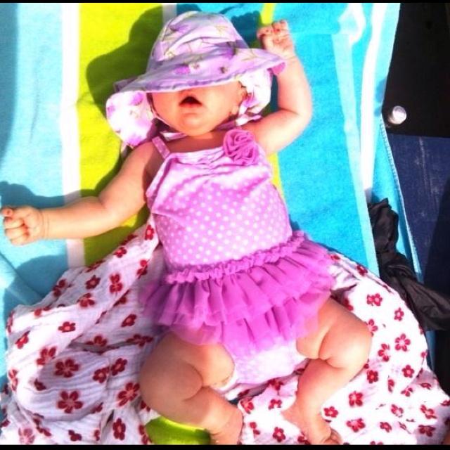 Sunbathing baby Ella!