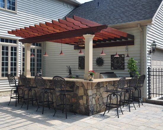#Patio Outdoor Bar Design with BBQ for the outside cooking as well- great for entertaining #bbq #kitcen