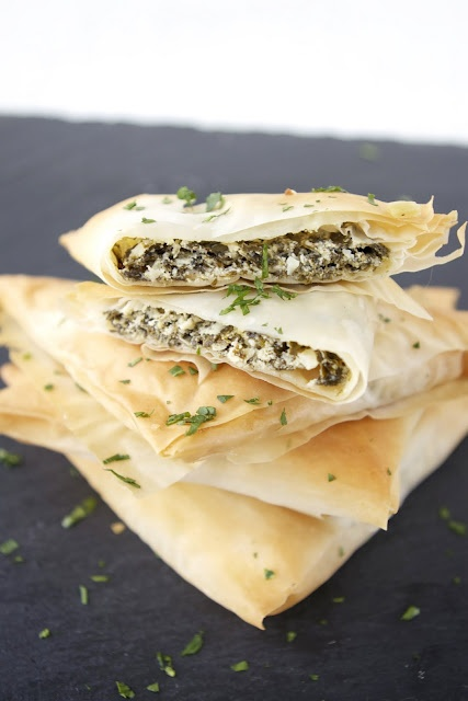 spinach and goat cheese triangles | Healthy Food Ideas | Pinterest