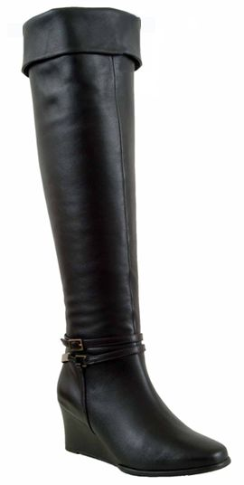 Ros Hommerson Women's Lia Super Wide Calf Wedge Boot (Black Leather