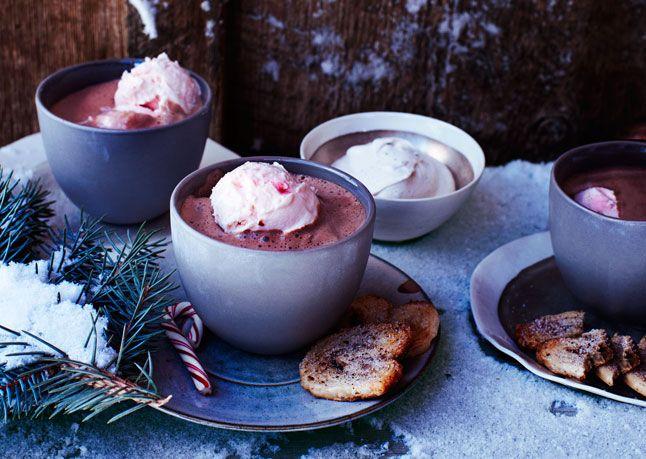 Hot-Cocoa Affogato with Peppermint Ice Cream Rich, chocolaty cocoa is ...
