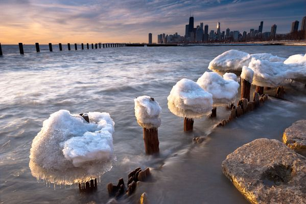 Ice mushrooms Lake Michigan