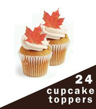 24 edible cup cake toppers autumn maple leaves wedding or birthday