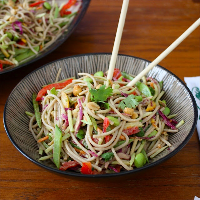 salad hot smoked salmon soba and asian greens salad asian noodle salad ...