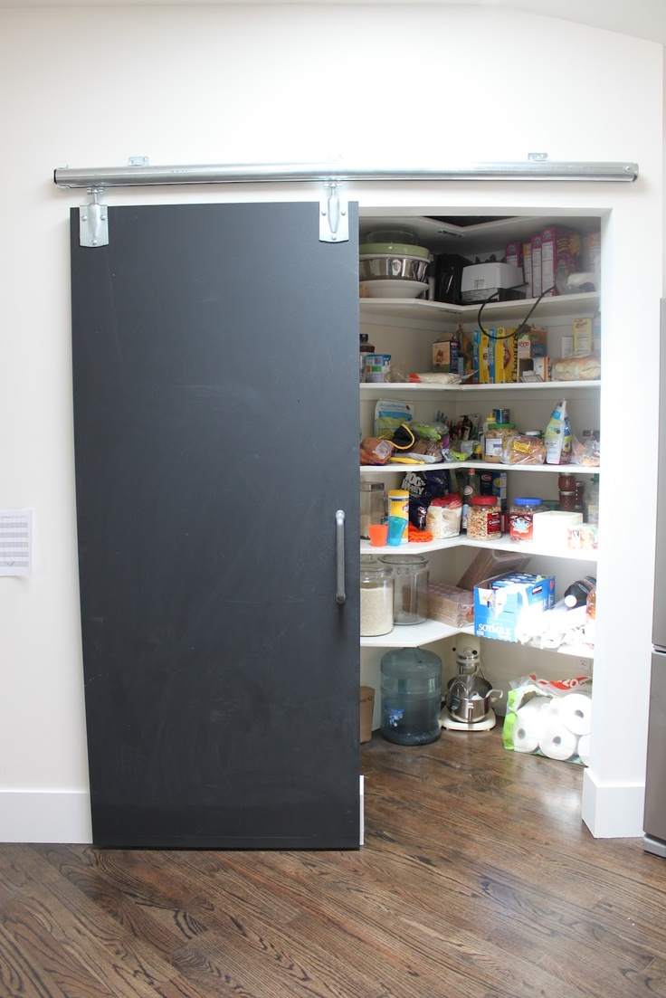 Chalkboard pantry door home pinterest for Pantry barn door hardware