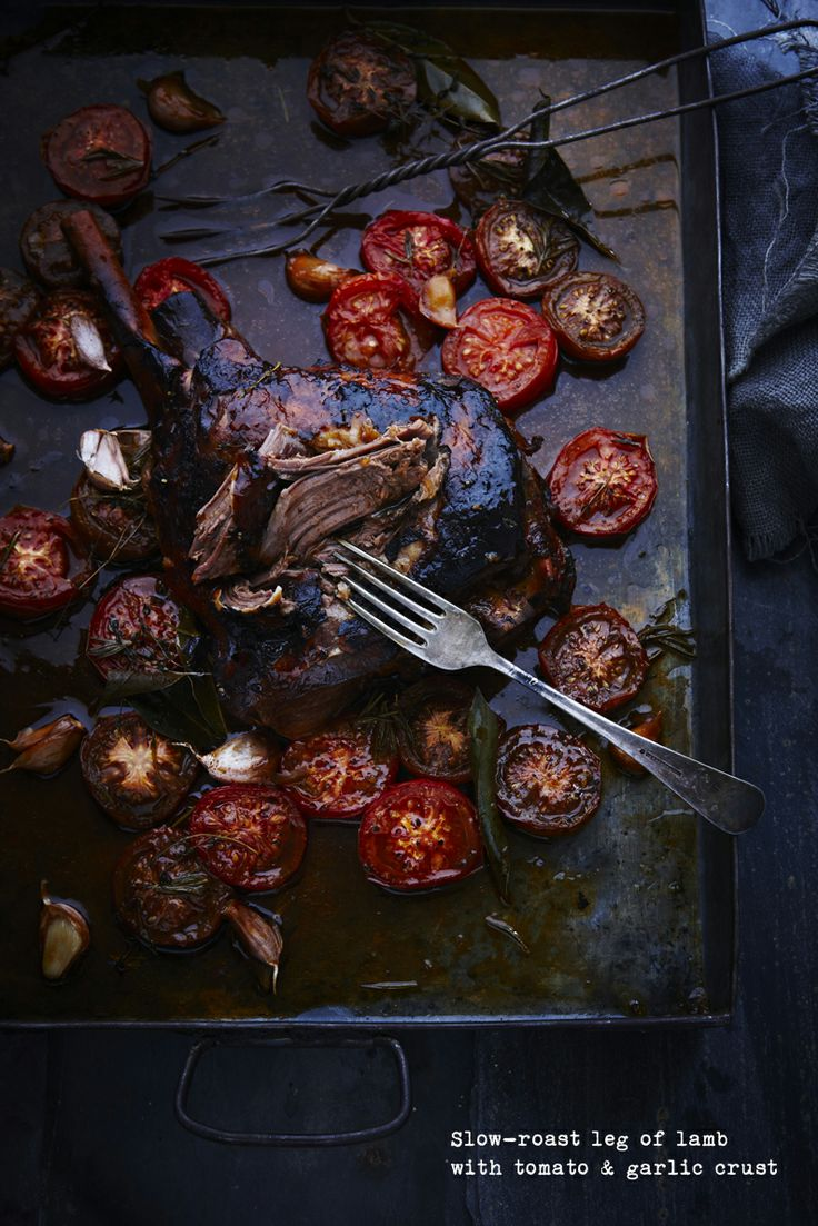Slow-roast leg of lamb with tomato & garlic crust | Yum {meat&poultry...