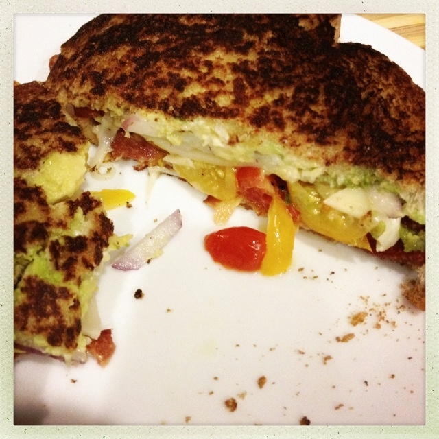 Grilled Cheese With Green Garlic Butter, Tomatoes And Avocado Recipe ...