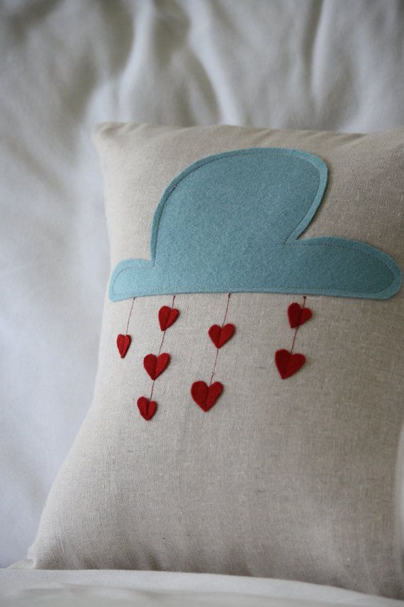 Raining Love Felt Pillow