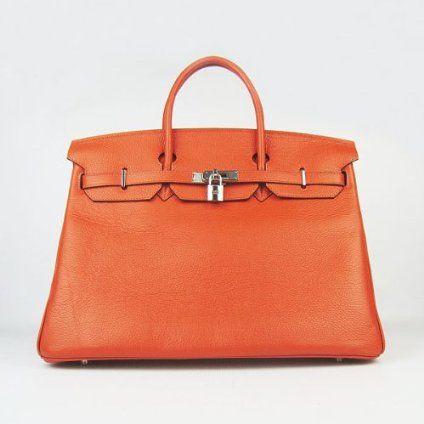 Designer Inspired 40cm Elegant Classic Orange Genuine Leather Birkin Style Handbags Brand NEW