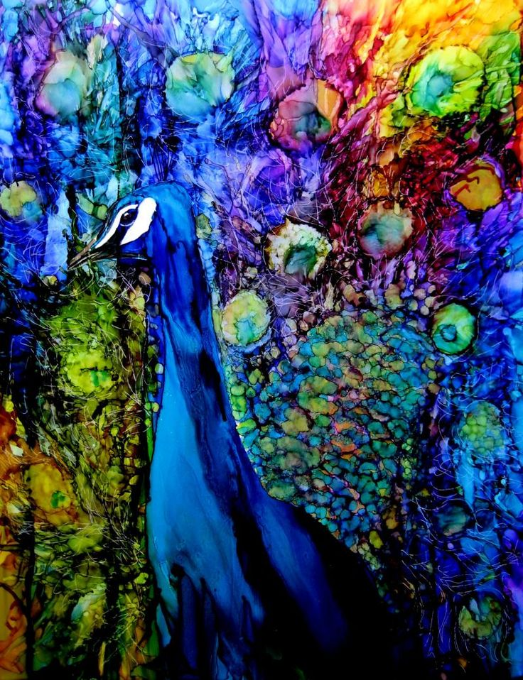 Peacock alcohol ink painting by Karen Walker - love this one!
