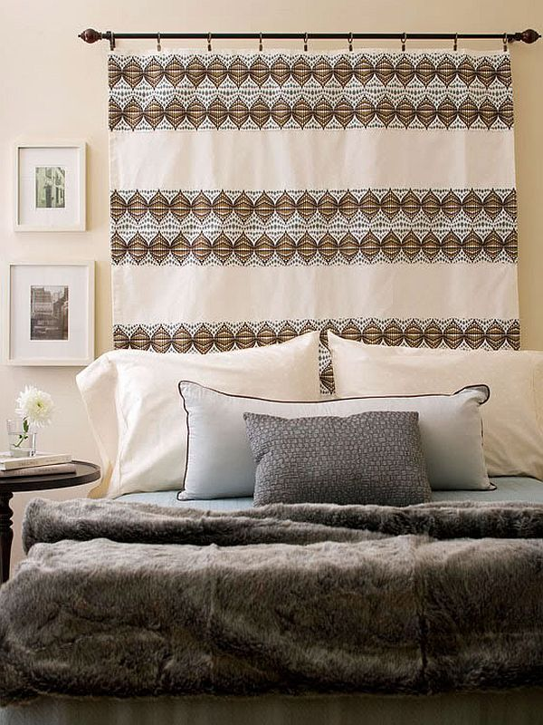 Hanging Curtains Behind A Bed · Curtain And Curtain Rod For Headboard Easy  To Change Out To Match . ...