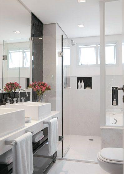 Banheiro pequeno branco decorado  Bathrooms  Pinterest -> Meu Banheiro Pequeno Decorado