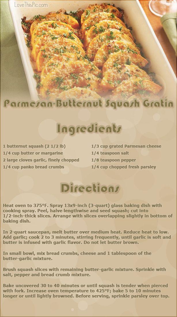 Parmesan-butternut Squash Gratin thanksgiving recipes thanksgiving ...