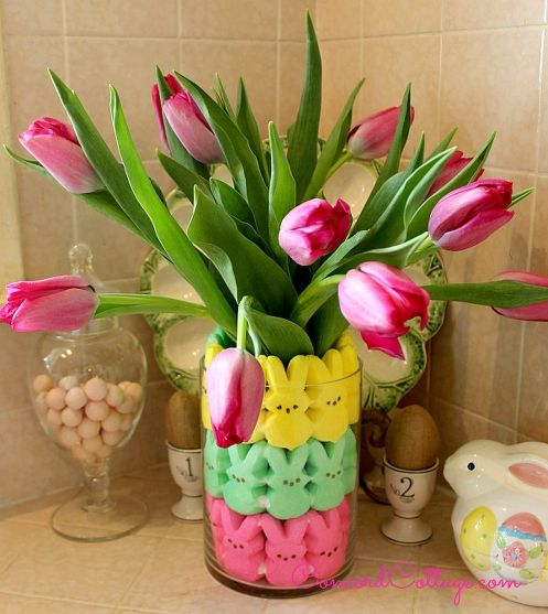 Easter peeps floral arrangement for Flower arrangements decorations home