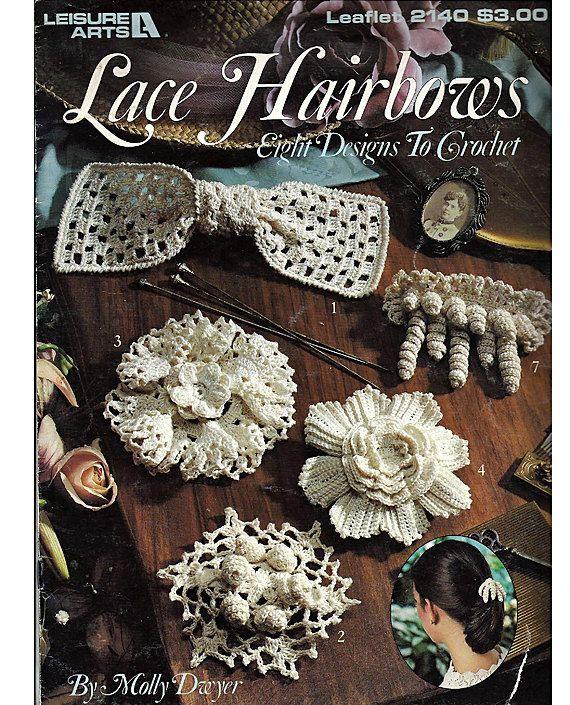 Crochet Hair Designs : Lace Hair Bows Eight Designs to Crochet Pattern Book Leisure Arts 2140