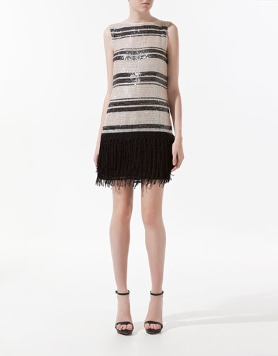 SEQUINNED DRESS WITH FRINGE - Dresses - Woman - ZARA $70