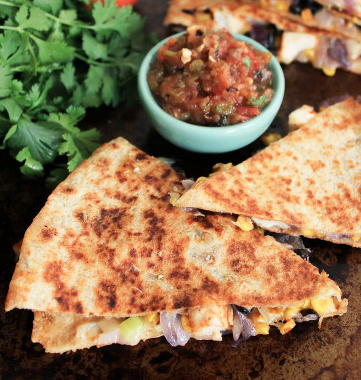 ... Chicken Quesadillas with Corn, Black Beans, and Caramelized Onions