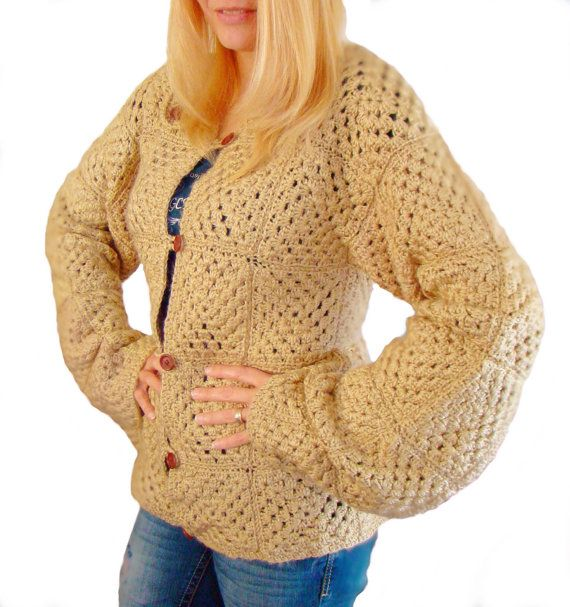 ... Square Jacket, crochet jacket, granny square cardigan, crochet